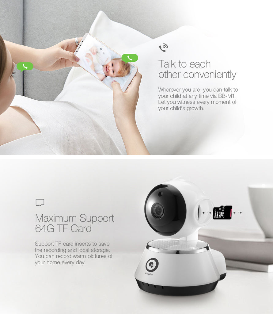 HD WIFI baby camera monitor with two way audio showing two way talk and 64TF Card to save recordings.