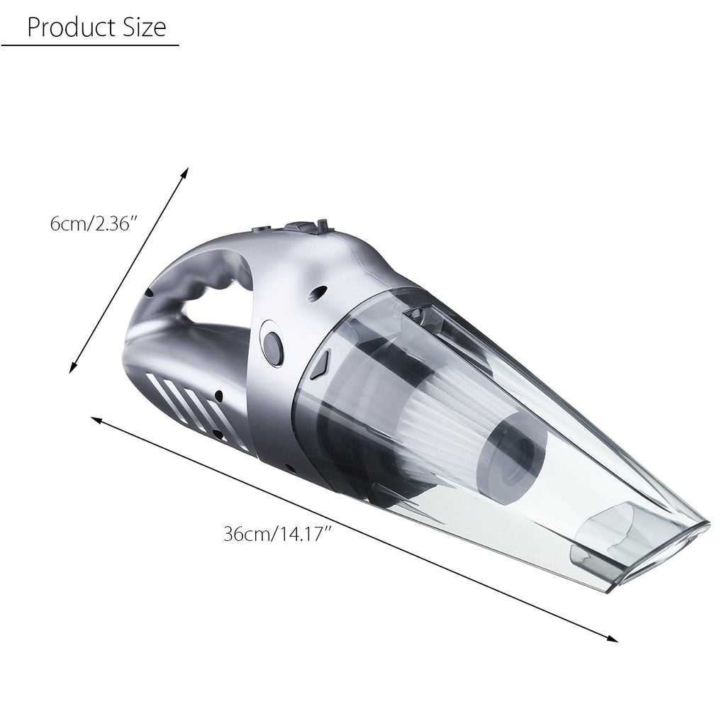 portable car home vacuum silver showing dimensions 2.36 inches or 6 cm wide by 14.17 inches or 36 cm long.