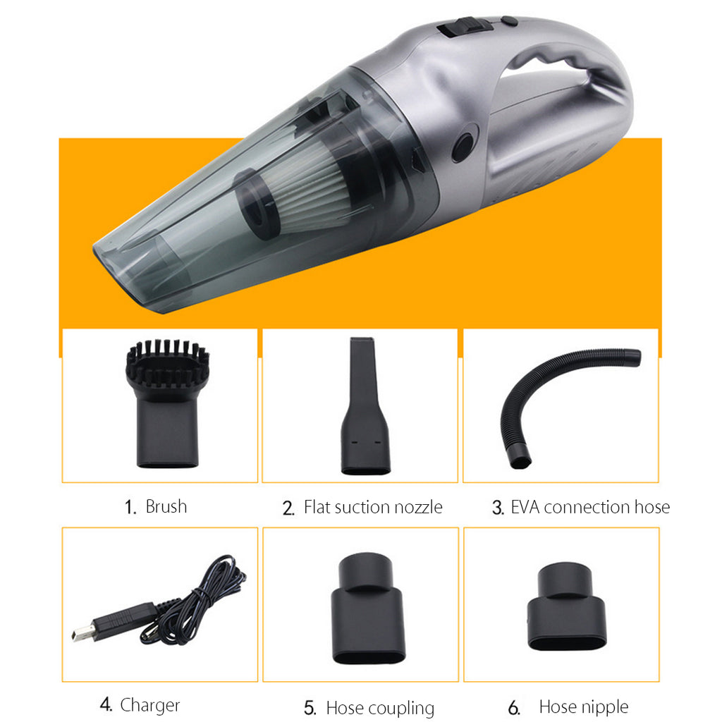 portable car home vacuum silver attachements and accessories