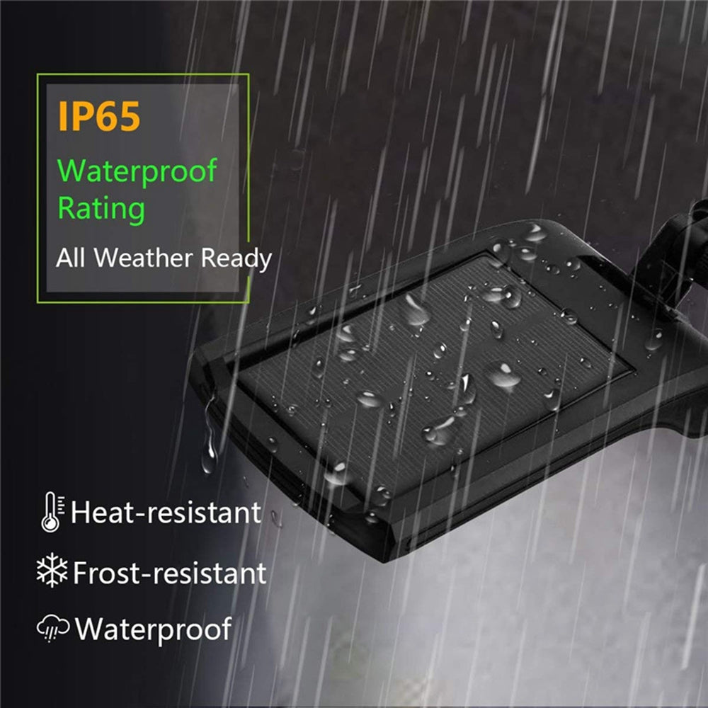 Solar powered securty light has IP65 waterproof rating.