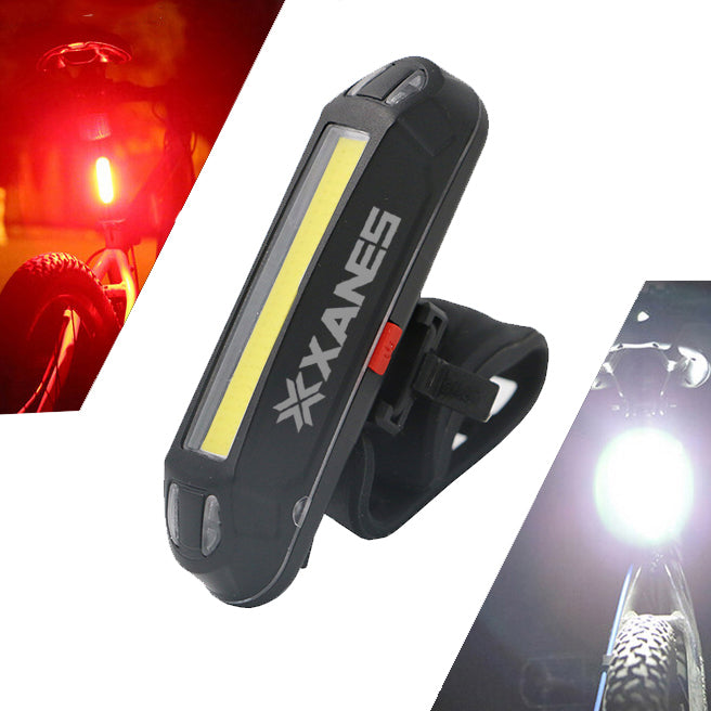 XANES 2 in 1 500LM Bicycle USB Rechargeable LED Bike Front Light Taillight Ultralight Warning Night Light Uses on bike