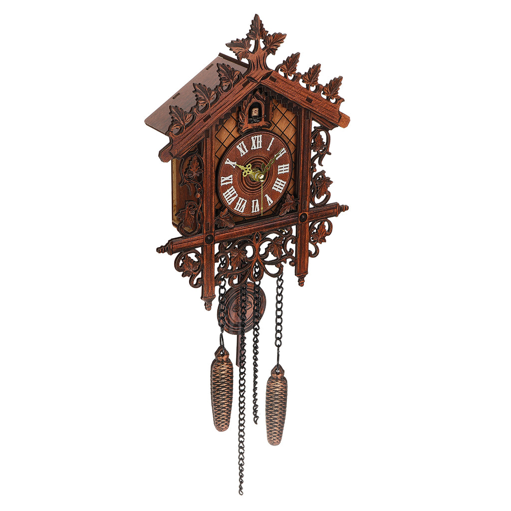 Vintage Handcraft Wood Cuckoo Wall Clock Tree House Swing Wall Clock Art Home Decorations left angle view