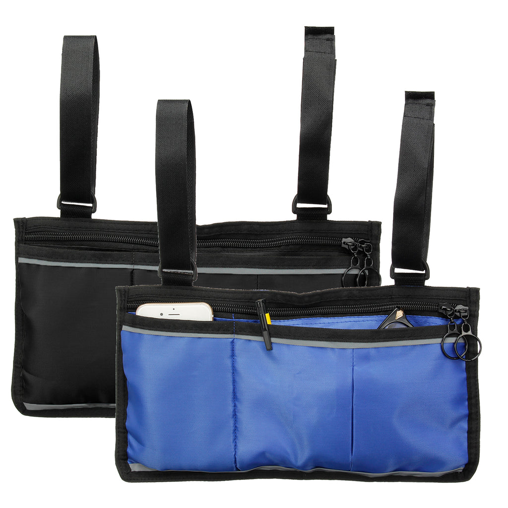 Wheelchair Side Bag Armrest Pouch Organizer Bag Phone Pocket Walker Scooter Tool Bag blue and black color with lots of room.