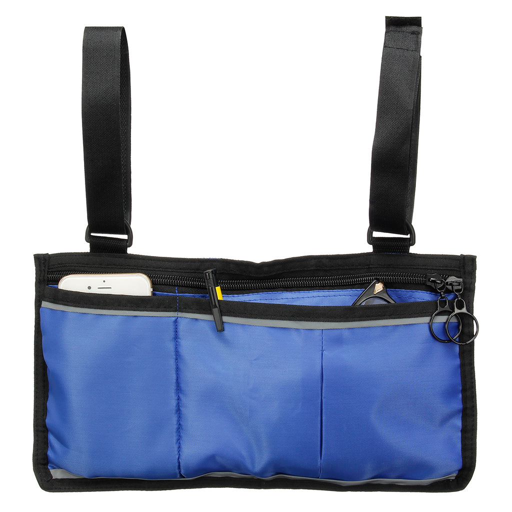 Wheelchair Side Bag Armrest Pouch Organizer Bag Phone Pocket Walker Scooter Tool Bag side view