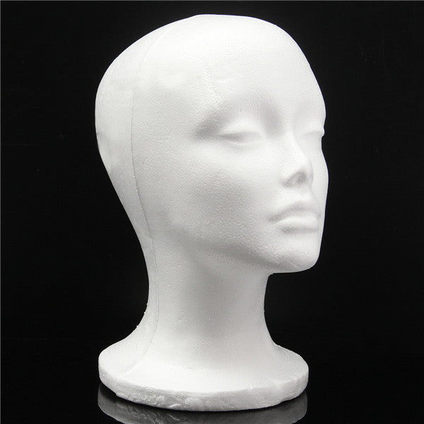 Foam Styrofoam Mannequin Cap Hair Wig Display Holder Female Head Model Hats Jewellery right view