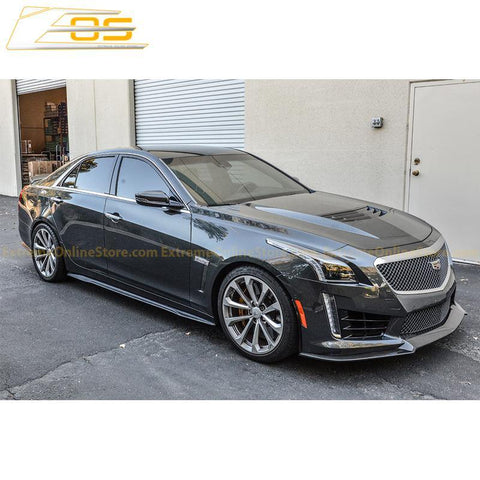 16-19 Cadillac CTS-V Carbon Fiber Front Splitter & Side Skirts Rockers