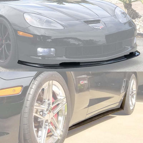 Corvette C6 Grand Sport / Z06 Front Splitter Lip & Side Skirts Rocker Panels - ExtremeOnlineStore