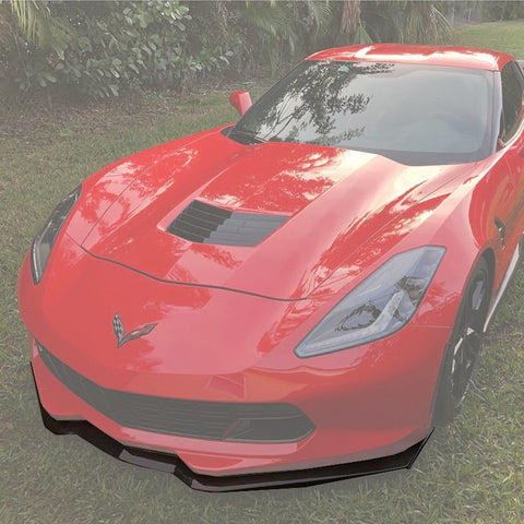 Corvette C7 Stage 2 Carbon Fiber Front Splitter Lip W/ Carbon Side Winglets - ExtremeOnlineStore