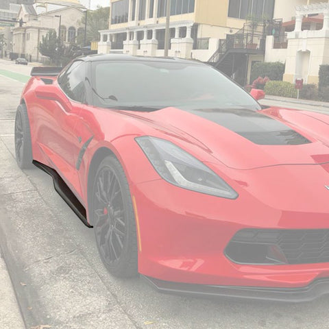 Corvette C7 Stingray / Z51 Primer Black Side Skirts Rocker Panels - ExtremeOnlineStore