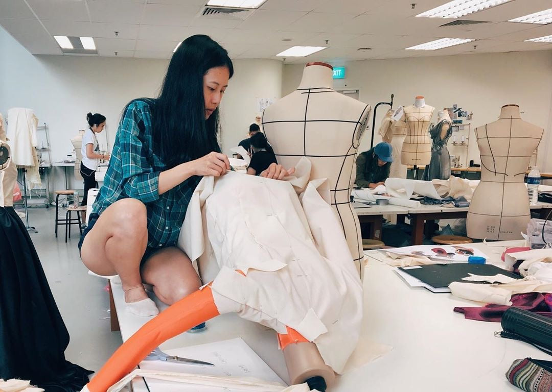 Founder and fashion designer Elisa in workshop
