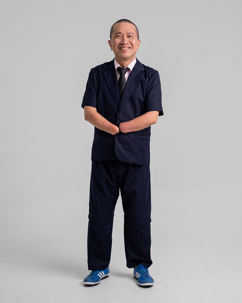 Whee Boon dressed in the complete customised suit