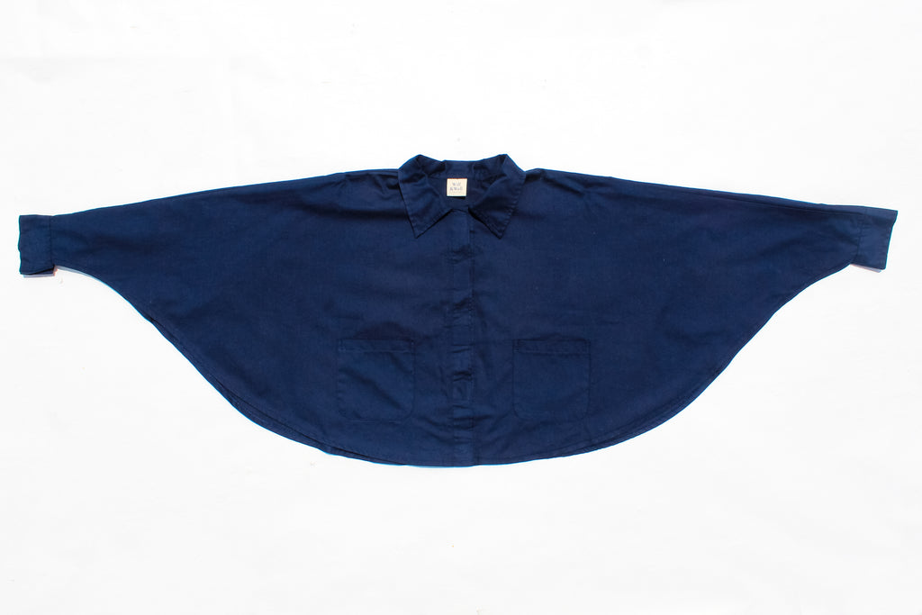 Flat lay of Cropped Cape – MagSnap in Navy from our Launch Collection