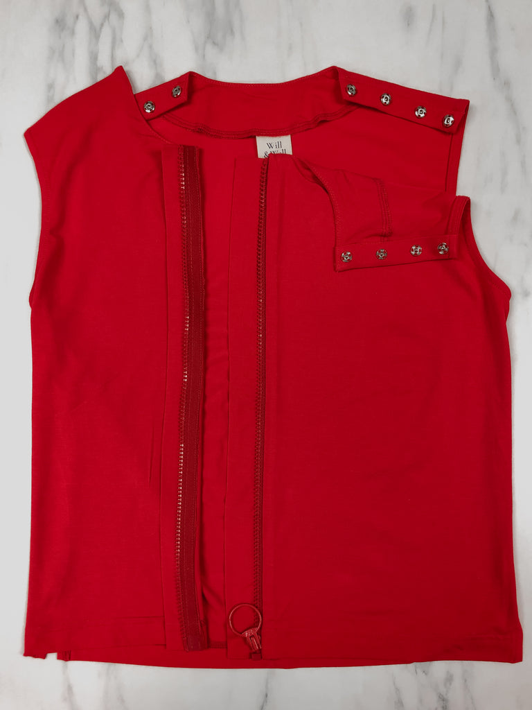 Close up of the customised Sleeveless Blouse in bright red. FrontSlit opening in the middle of the blouse for easy dressing.