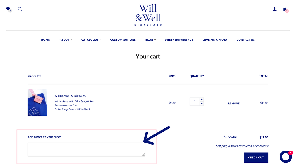 "Screenshot of Cart page, arrow pointing to the ""Add a note to your order"" box"
