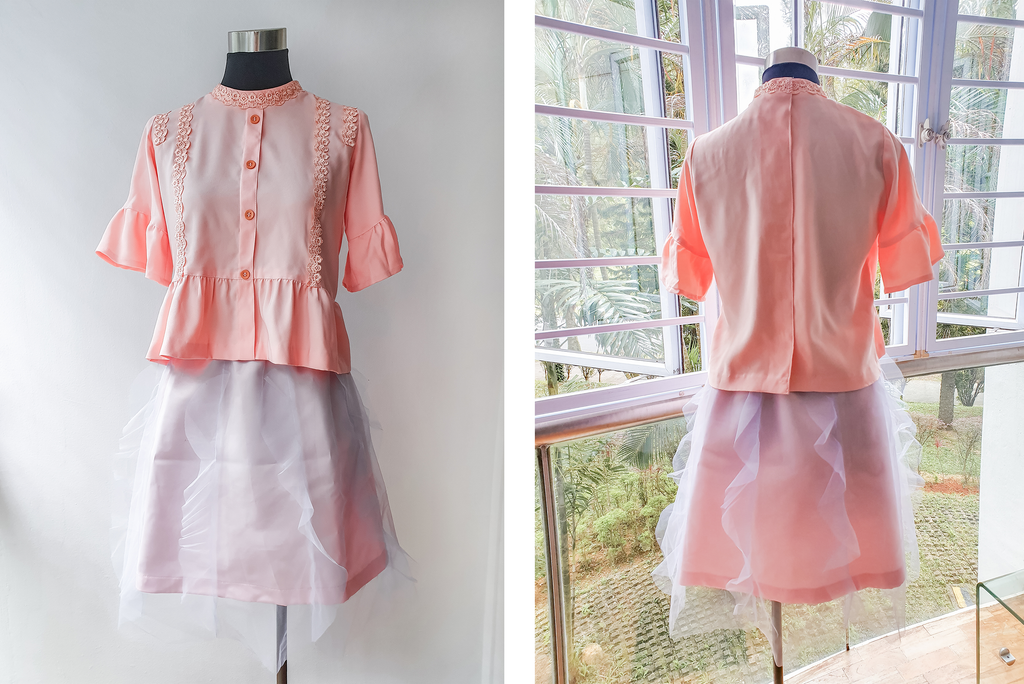 Pink Blouse and Tulle Set on a mannequin. Front view (left) and back view (right)