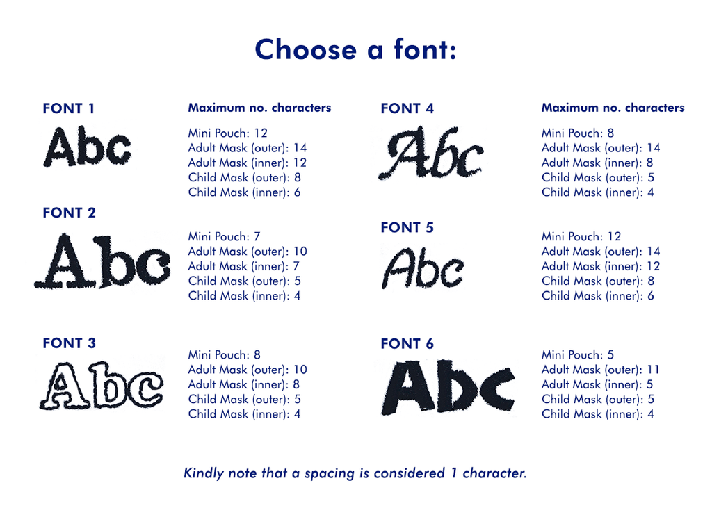Font options and maximum characters allowed