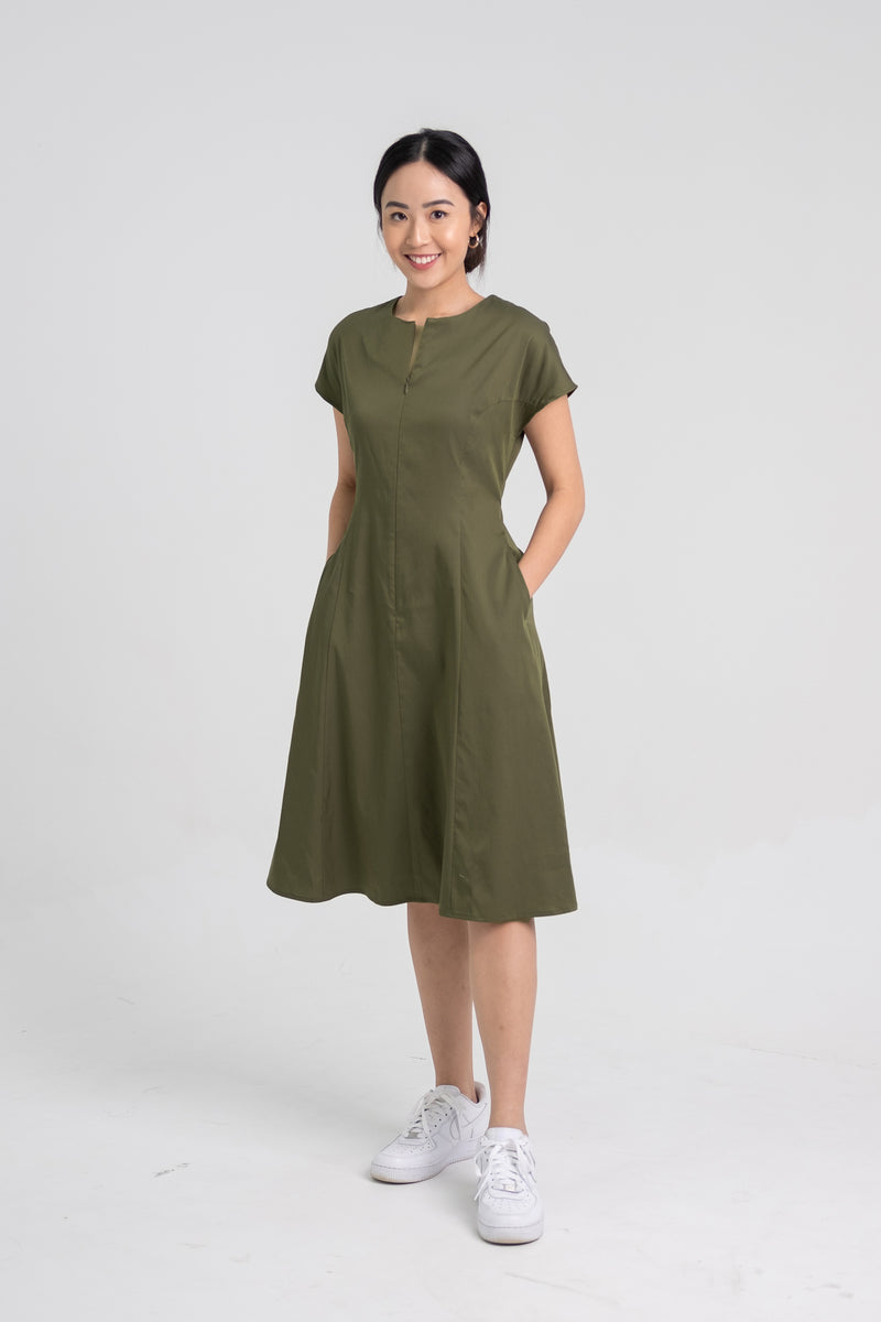 Midi Cap Sleeve Dress – FrontZip