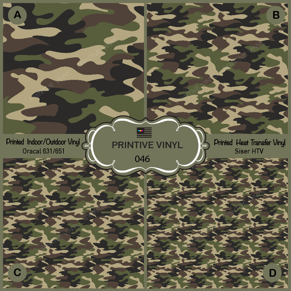 Green Military Camouflage Pattern Printed Vinyl/ Indoor/ Outdoor/ Heat  Transfer Vinyl-046