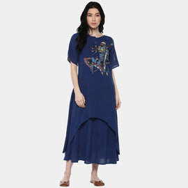 Kalbelia Indigo Cotton Layer Dress