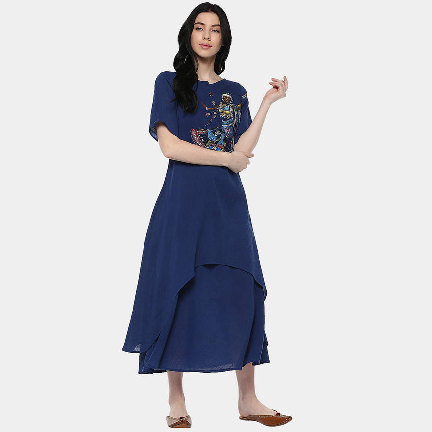Kalbelia Indigo Cotton Layer Dress (1)