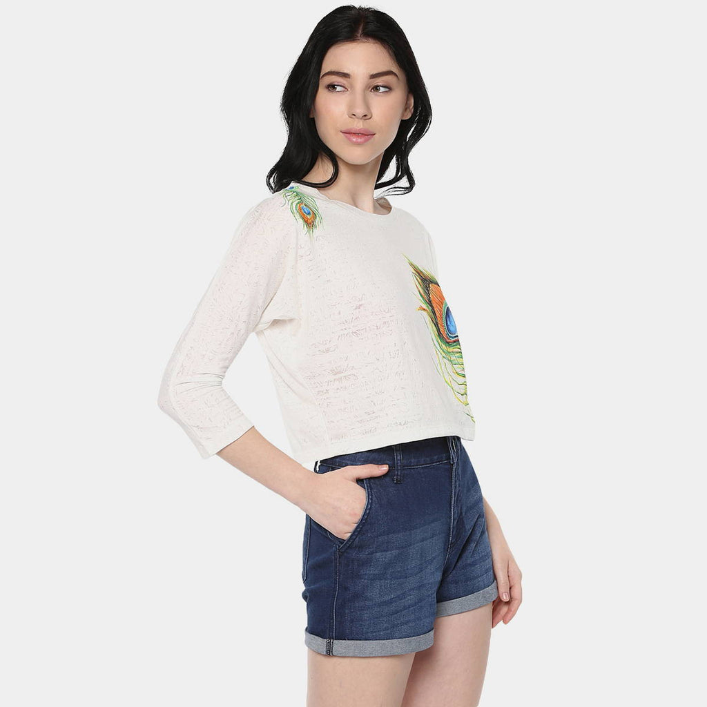 Peacock Plume Crop Top