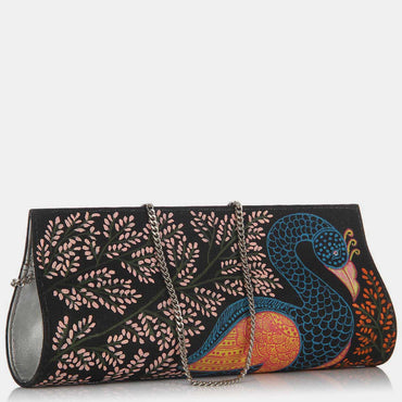 Hand Painted Peacock Patachitra Clutch