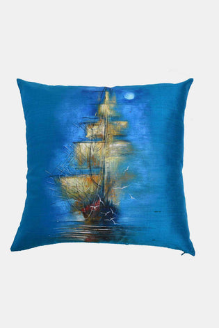 Hand Painted Ship Cushion Cover