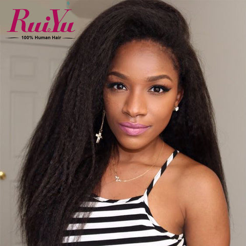 Brazilian Kinky Straight Glueless Full Lace Human Hair Wigs