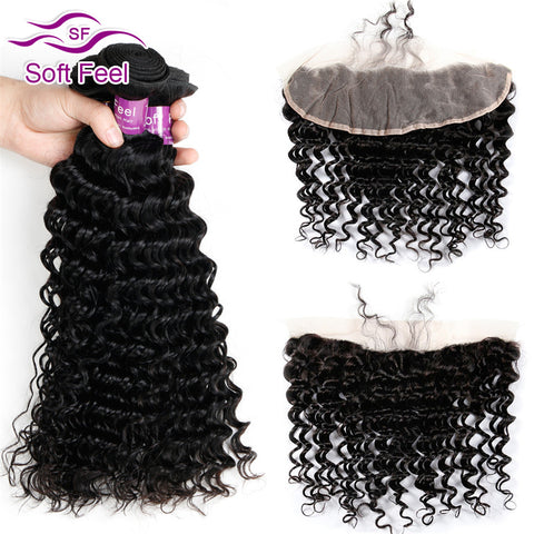 Malaysian Deep Curly Hair With Frontal Closure