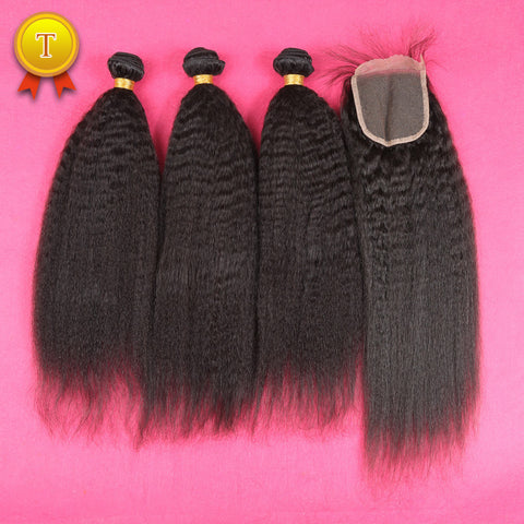 7A Mongolian Kinky Straight Hair With Closure
