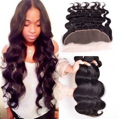 Peruvian Virgin Hair Body Wave With ear to ear Closure