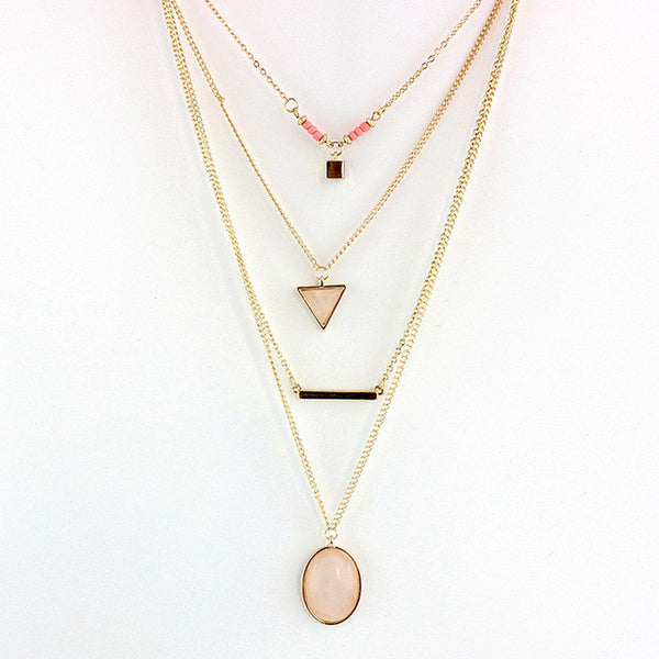 Bohemia Jewelry Multilayer Gold Colour Necklace with Geometric Pendants