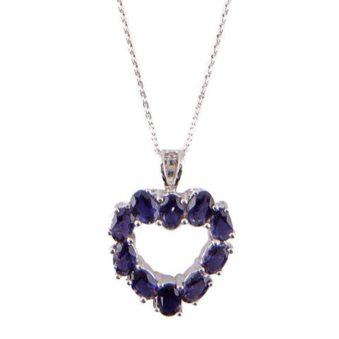 Heart-shaped pendant set with gemstones