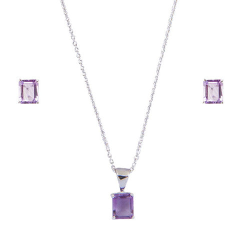 Rectangle Shaped Purple Genuine Amethyst  Necklace & Earrings Set