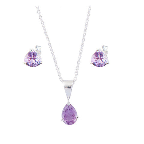 Purple Genuine Amethyst Necklace Earring Set
