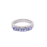 925 Sterling Silver Ring Set with Tanzanite gemstones