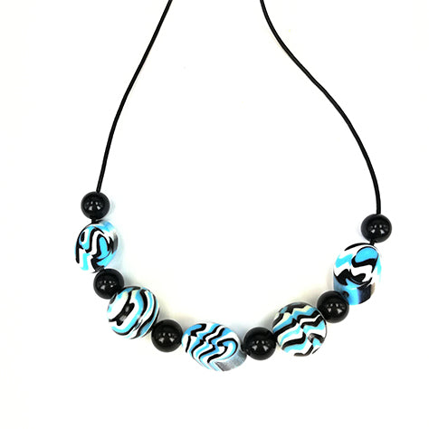 Blue and White Leopard Pattern Necklace
