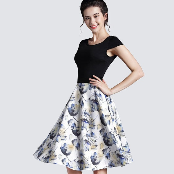 Summer Ladylike Stretchy Elegant Patchwork Vintage O-Neck Cute Sleeveless Womens Gorgeous Ball Gown Casual Dress A009