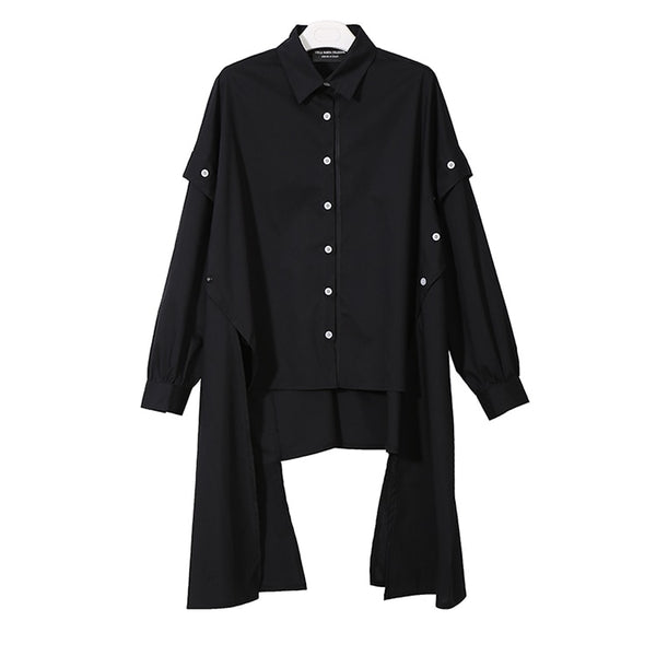 Long Sleeve Asymmetrical Blouse