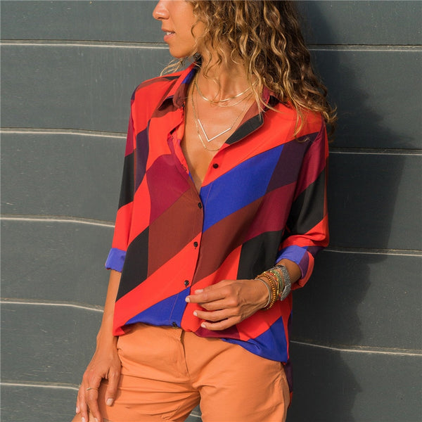 Colourful Fashion Striped Ladies Long Sleeve Blouses