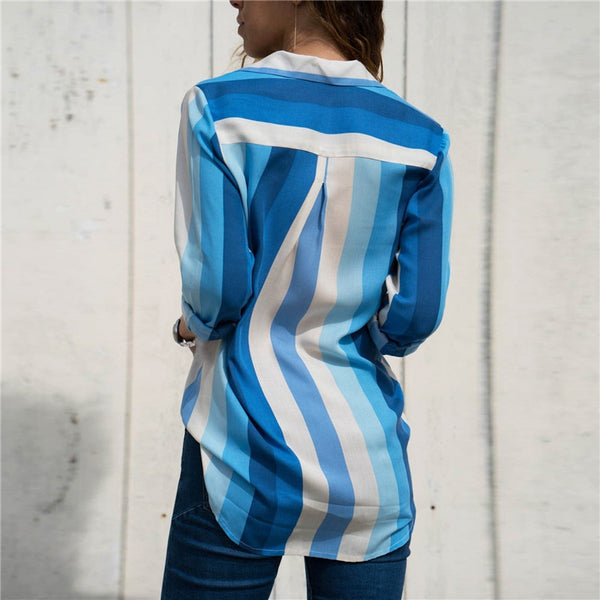 Sky Blue Striped Ladies Long Sleeve Blouses