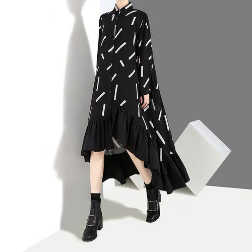 Dress with Geometrical Pattern Ruffle Hem Long