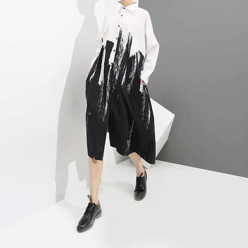 White Shirt Dress with Abstract Painting, Long Sleeves