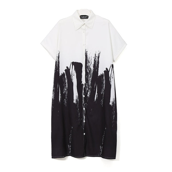 White Shirt Dress with Abstract Painting, Short Sleeves
