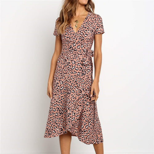Elegant Leopard Print Chiffon Dress