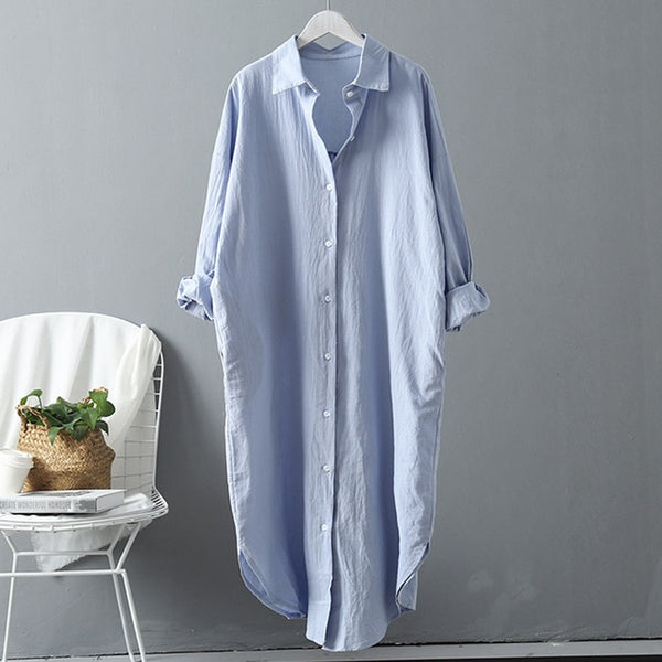 Cotton Casual Long Blouse