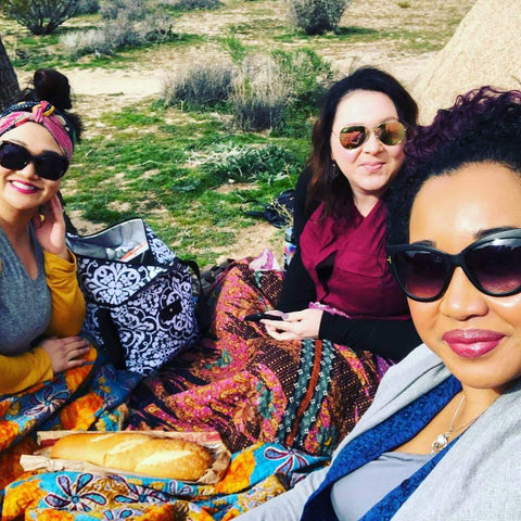 three friends picnic kantha blanket and head wrap