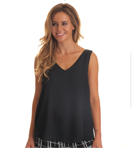 Sweet V Neck Cami Top - Black