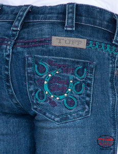 Girls Cowgirl Tuff Jeans Double Lucky Purple