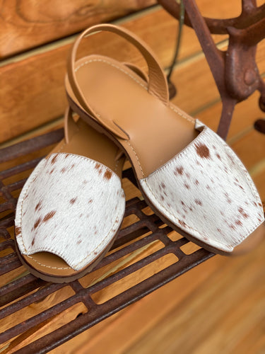 Cowhide sling back shoes tan 41